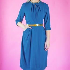 1940's Dust Blue Rayon Dress